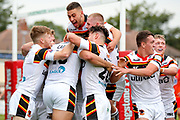 Bradford Bulls winger Omari Caro (18) fights his way to score a try and celebrates to make the score  18-24 during the Kingstone Press Championship match between Sheffield Eagles and Bradford Bulls at, The Beaumont Legal Stadium, Wakefield, United Kingdom on 3 September 2017. Photo by Simon Davies.
