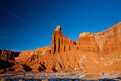 Chimney Rock sandstone pillar rock formation late afternoon, Capitol Reef National Park, Utah, United States of America