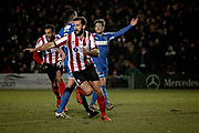 Lincoln City forward Ollie Palmer (8) thinks he has won it for Lincoln but his goal is disallowed the EFL Sky Bet League 2 match between Lincoln City and Notts County at Sincil Bank, Lincoln, United Kingdom on 13 January 2018. Photo by Nigel Cole.