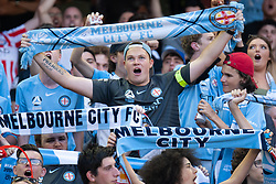 February 23, 2019 - Melbourne, VIC, U.S. - MELBOURNE, VIC - FEBRUARY 23: City fans chant to support prior to the start of the match at round 20 of the Hyundai A-League Soccer between Melbourne City FC and Melbourne Victory on February 23, 2019 at Marvel Stadium, VIC. (Photo by Speed Media/Icon Sportswire) (Credit Image: © Speed Media/Icon SMI via ZUMA Press)