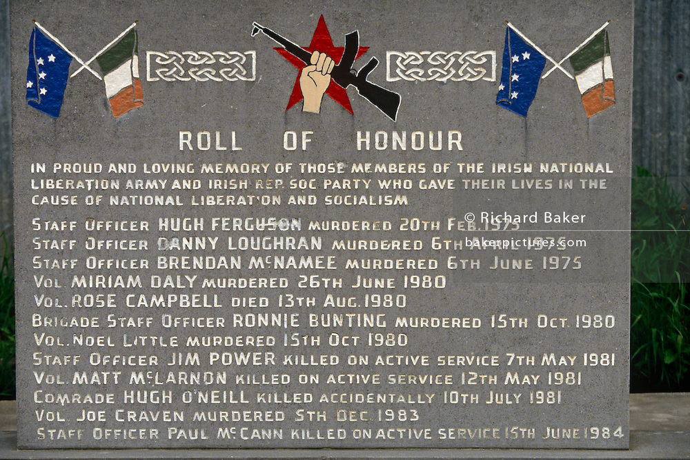 A roll-call of Irish Republican volunteers who died during the 1970s and 1980s during what is known as the Troubles. Their names and dates of their deaths is recorded in Milltown cemetery in Belfast, northern Ireland.