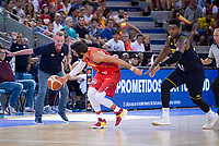Spain's Ricky Rubio and Venezuela's Nestor Colmenares during friendly match for the preparation for Eurobasket 2017 between Spain and Venezuela at Madrid Arena in Madrid, Spain August 15, 2017. (ALTERPHOTOS/Borja B.Hojas)