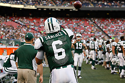 Aug 14, 2009; East Rutherford, NJ, USA;   New York Jets quarterback Mark Sanchez (6) warms up with New York Jets quarterback Chris Pizzotti (19) during the first half of their game against the St. Louis Rams at Giants Stadium.