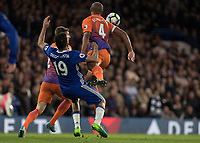 Football - 2016 / 2017 Premier League - Chelsea vs. Manchester City<br /> <br /> Vincent Kompany of Manchester City  knocks Diego Costa of Chelsea out of the way at Stamford Bridge.<br /> <br /> COLORSPORT/DANIEL BEARHAM