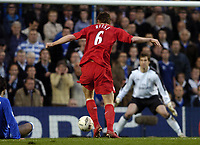 Picture: Henry Browne, Digitalsport<br /> Date: 27/04/2005.<br /> Chelsea v Liverpool Champions League Semi-Final.<br /> John Arne Riise misses a great opportunity early in the first half.