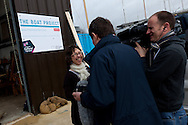 England, Emsworth, The Boat Project. 25  February  2011. Gwen Van Spijk is interviewed by the BBC.