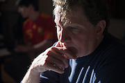 Eddie Ashworth listens carefully during a recording session with the band Controlled Folly at MDIA Sound.