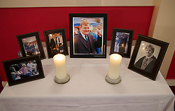 © Licensed to London News Pictures. 12/06/2015. Fort William, UK. Pictures of Charles Kennedy at a community centre in Caol, near his Fort William home in Scotland on Friday, June 12, 2015 after the funeral of ex-Liberal Democrat leader. Mr Kennedy died suddenly on June 1, 2015 at the age of 55 after suffering a major haemorrhage as a result of a long battle with alcoholism. Photo credit: Tolga Akmen/LNP