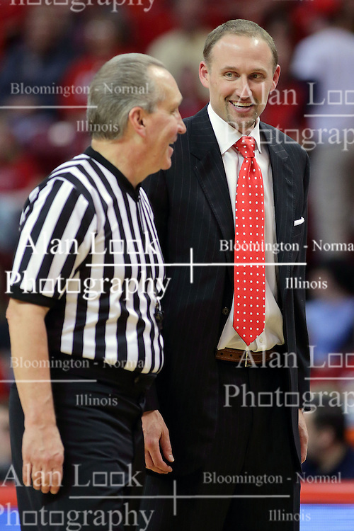 22 February 2017:  Joe DeRosa and Dan Muller, Head Coach share a laugh during a College MVC (Missouri Valley conference) mens basketball game between the Southern Illinois Salukis and Illinois State Redbirds in  Redbird Arena, Normal IL