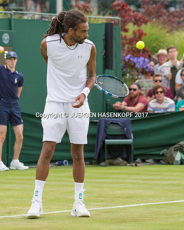 DUSTIN BROWN (GER) spielt Ball hinter Ruecken,kurios,<br /> <br /> Tennis - Wimbledon 2017 - Grand Slam ITF / ATP / WTA -  AELTC - London -  - Great Britain  - 3 July 2017.
