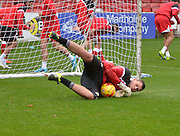 Accrington Stanley Goalkeeper, Jason Mooney warms up during the Sky Bet League 2 match between Accrington Stanley and Newport County at the Fraser Eagle Stadium, Accrington, England on 14 November 2015. Photo by Mark Pollitt.