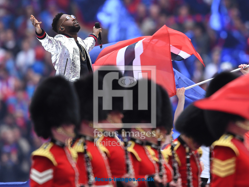 Tinie Tempah performs before the FA Cup Final between Crystal Palace and Manchester United at Wembley Stadium, London<br /> Picture by Andrew Timms/Focus Images Ltd +44 7917 236526<br /> 21/05/2016