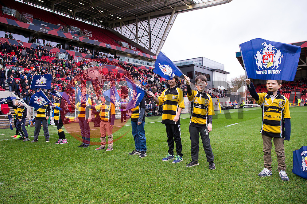 Flag Bearers - Rogan Thomson/JMP - 26/02/2017 - RUGBY UNION - Ashton Gate Stadium - Bristol, England - Bristol Rugby v Bath - Aviva Premiership.