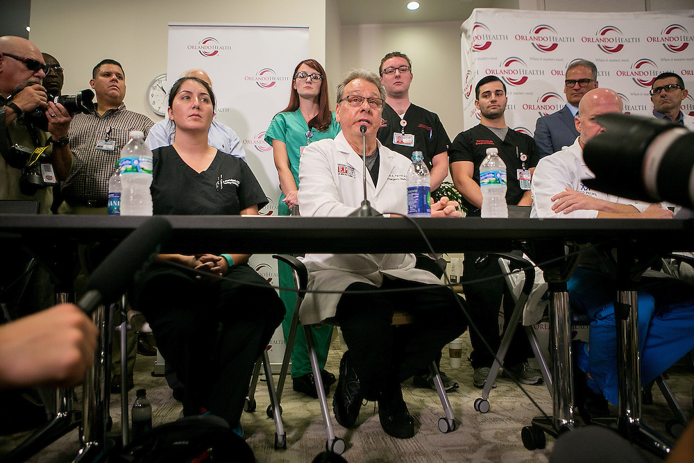 ORLANDO - JUNE 14, 2016: Medical staff from the Orlando Regional Medical Center speak to reporters during a press conference about their response to the mass shooting that occurred just blocks away from the center at Pulse nightclub in Orlando, Florida. CREDIT: Sam Hodgson for The New York Times.