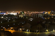 Eilat Israel, at night Eilat, pop. 55,000, is Israel's southernmost city in the Southern District of Israel. Adjacent to the Egyptian city of Taba and Jordanian port city of Aqaba, Eilat is located at the northern tip of the Gulf of Aqaba, which is the eastern sleeve of the Red Sea.
