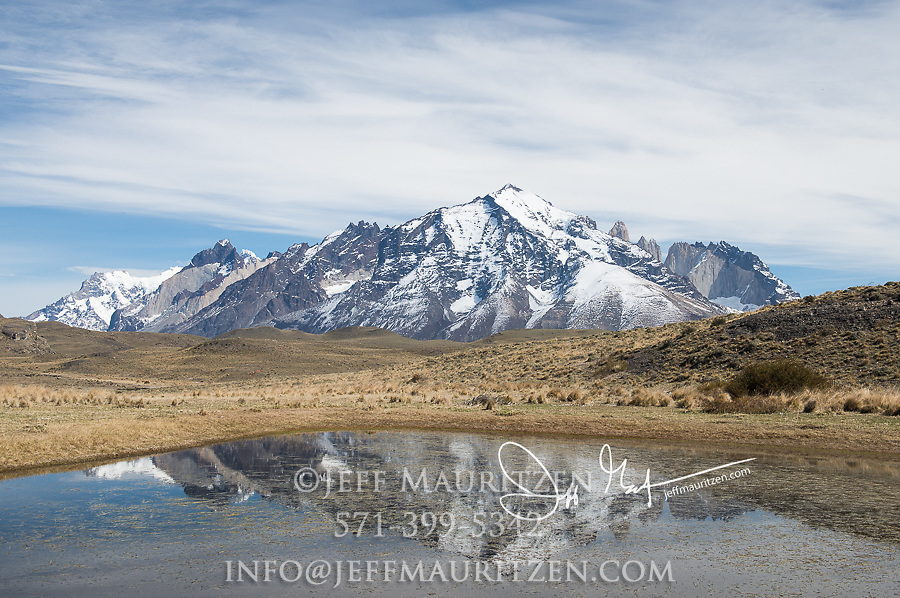 Reflection of mountains at Torres del Paine National Park, Chile.