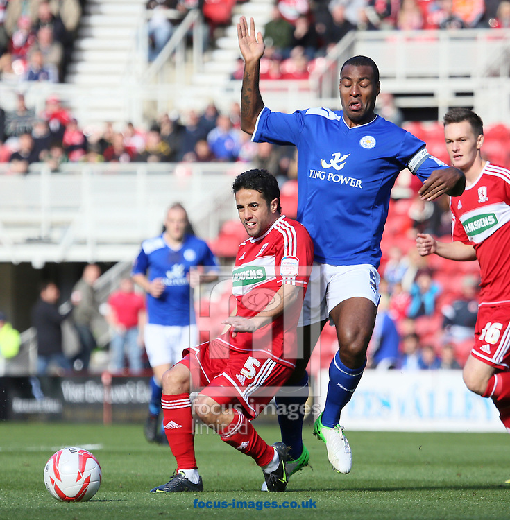 Picture by Paul  Gaythorpe/Focus Images Ltd +447771 871632.29/09/2012.Merouane Zemmama of Middlesbrough and Wes Morgan of Leicester City during the npower Championship match at the Riverside Stadium, Middlesbrough.