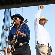 "WASHINGTON, DC -  August 15th, 2009 -  ""Godfather of Go-Go"" Chuck Brown (L) is joined onstage by ""Mayor For Life"" Marion Barry (R) at the Stone Soul Picnic at RFK Stadium in Washington, D.C. (Photo by Kyle Gustafson)"
