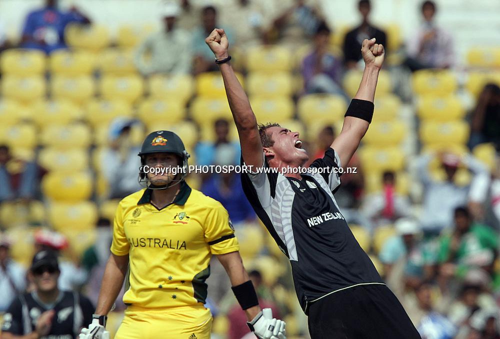 Tim Southee celebrates. ICC Cricket World Cup. New Zealand Black Caps v Australia at the Vidarbha Cricket Association Ground. Friday February 25, 2011. Nagpur, India. Photo: photosport.co.nz