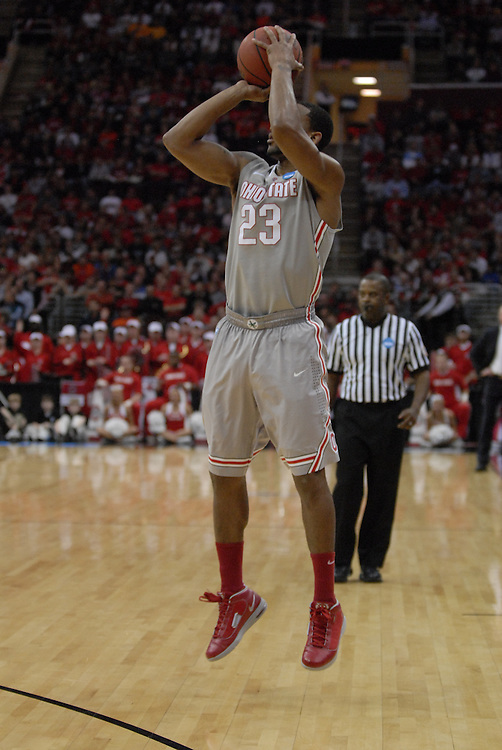 Ohio State forward David Lighty (23) makes one of his five first-half 3-pointers in OSU's 98-66 win against George Mason in the third round of the NCAA Tournament on March 20, 2011, in Cleveland.