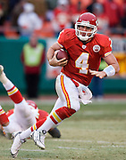 KANSAS CITY, MO - DECEMBER 14:   Tyler Thigpen #4 of the Kansas City Chiefs runs with the ball against the San Diego Chargers on December 14, 2008 in Kansas City, Missouri.  The Chargers defeated the Chiefs 22-21.  (Photo by Wesley Hitt/Getty Images) *** Local Caption *** Tyler Thigpen