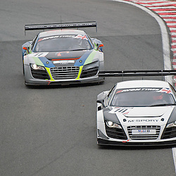 Race 1 - At the Avon Tyres British GT Championship held at Oulton Park, Cheshire, UK..The two Audi's of M-Sport Racing, Rembert Berg & Warren Hughes, Audi R8 LMS Ultra, GT3 and PE Group Blendini Moto, Dominic Evans & Tom Roche, Audi R8 LMS, GT3.1st April 2013 WAYNE NEAL | STOCKPIX.EU