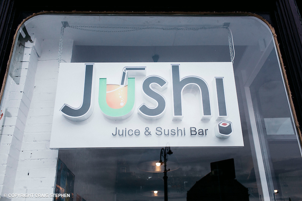 The List Magazine / Dundee City Council - Dundee Larder publication food / environmental photography.<br /> <br /> Jushi signage, West Port, Dundee.