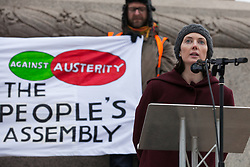 London, UK. 12th January, 2019. NHS cancer specialist Dr Aislinn Macklin-Doherty addresses hundreds of protesters taking part in a 'Britain is Broken: General Election Now' demonstration organised by the People's Assembly Against Austerity. Organisers argued that the overriding objective of working people in the UK should be to remove the Conservative Government from power through a general election regardless of their vote in the EU referendum.