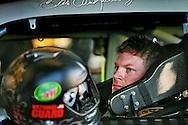 Dale Earnhardt, Jr. in the garages making adjustments to his car during week two of testing at International Speedway, Daytona, Daytona Beach, Monday, January 14, 2008. (Roberto Gonzalez)