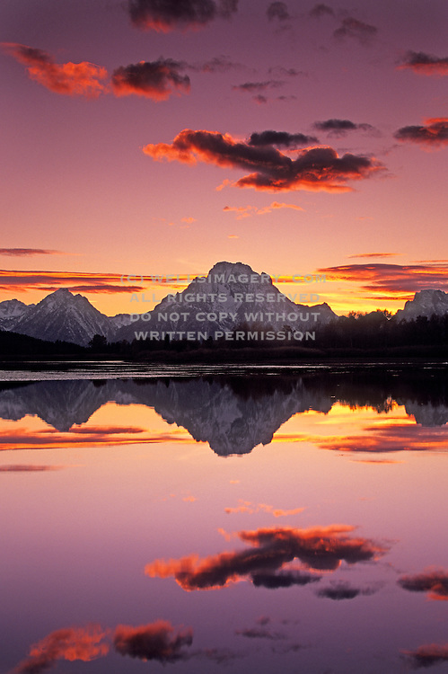 Sunset image of Mt. Moran and the Snake River at Grand Teton National Park, Wyoming, Pacific Northwest