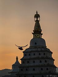 Swayambunath at sunset.  Kathmandu, Nepal.
