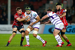 Graham Kitchener of Leicester Tigers is tackled - Mandatory by-line: Robbie Stephenson/JMP - 16/11/2018 - RUGBY - Kingsholm - Gloucester, England - Gloucester Rugby v Leicester Tigers - Gallagher Premiership Rugby