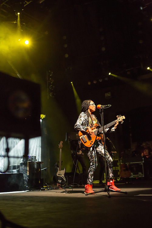 Esperanza Spalding in her well-received set at Celebrate Brooklyn. The venue was nearly filled to capacity for the concert.