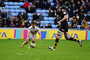 Wasps wing Marcus Watson  knocks on during the Aviva Premiership match between Wasps and Exeter Chiefs at the Ricoh Arena, Coventry, England on 18 February 2018. Picture by Dennis Goodwin.