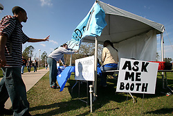 30 Jan, 2006. New Orleans, Louisiana.  Post Katrina.<br /> Five months after hurricane Katrina hit the city, the University of New Orleans welcomes some 12,000 students back to their Lakefront campus. The 'Ask me booth' is set up to welcome students back and direct them to their classrooms and give advice on campus.<br /> Photo; Charlie Varley/varleypix.com
