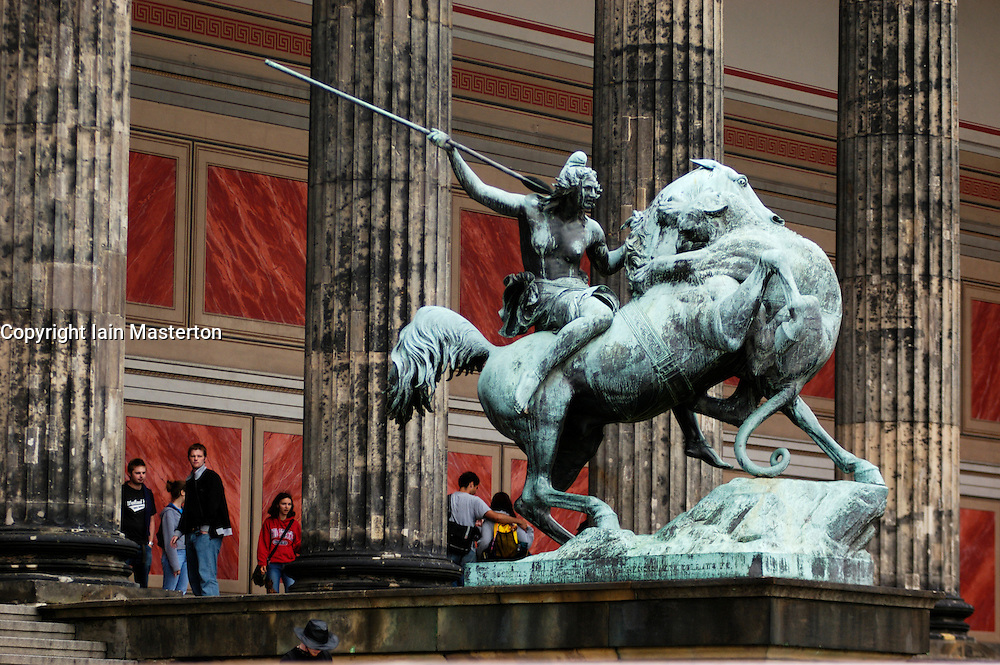 Ornate bronze statue outside the Altes Museum in central Berlin in Germany 2009