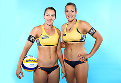 07.06.2016, Hamburg, GER, DVV Beachvolleyball, Fototermin, Nationalmannschaft, Olympische Spiele, Rio 2016, im Bild v.l. Julia Groflner und Victoria Bieneck (GER) // f.l. Julia Groflner and Victoria Bieneck of Germany during photocall of German Beach Volleyball team of German Cycling Federation for the Olympic games, Rio 2016. Hamburg, Germany on 2016/06/07. EXPA Pictures © 2016, PhotoCredit: EXPA/ Eibner-Pressefoto<br /> <br /> *****ATTENTION - OUT of GER*****
