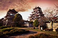 Fushimi Castle, Fushimi-jo in Kyoto, also known as Fushimi-Momoyama Castle or Momoyama Castle famous for its golden tea room. Colorful red sunset autumn scenery. Azuchi–Momoyama period Japanese castle in Fushimi-ku ward, Kyoto, Japan 2017