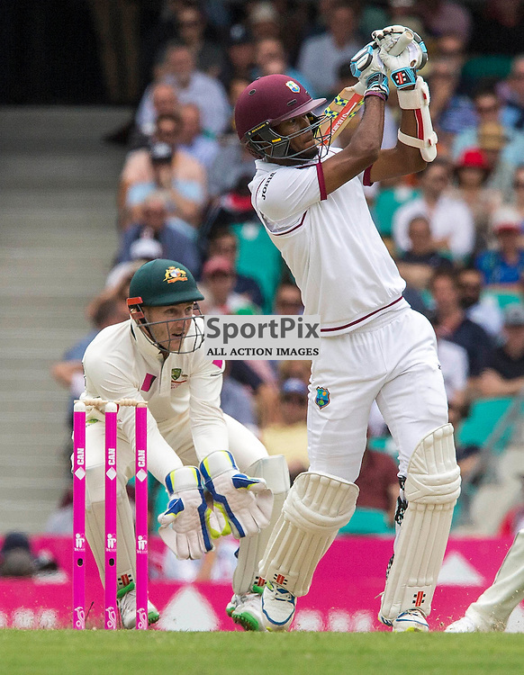 3rd Test Match 2015-16 Day 1, Australia v West Indies, Sydney Cricket Ground; 3 January 2016<br /> West Indian Kraigg Brathwaite takes to Australian Nathan Lyon for another four