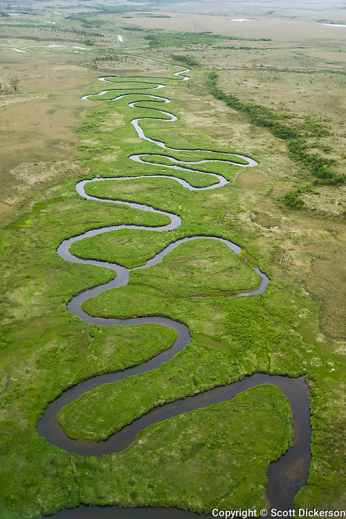 The winding King Salmon Creek and surrounding tundra in Bristol Bay, Alaska.