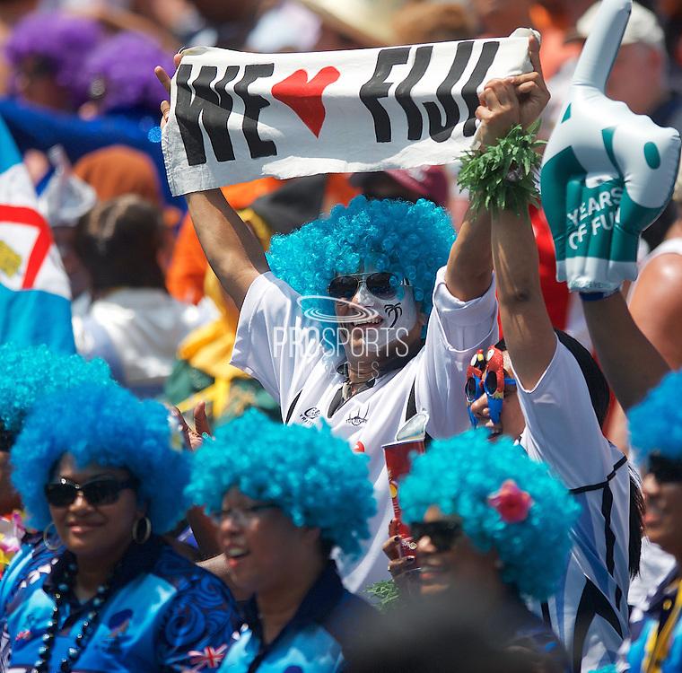 Fiji fan shows his support at the Hong Kong Stadium, Hong Kong on 28 March 2015. Photo by Ian Muir....during the Hong Kong Sevens 2015 match between ........... at Hong Kong Stadium, Hong Kong on 27 March 2015. Photo by Ian Muir.
