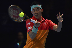 November 15, 2018 - London, United Kingdom - Kei Nishikori of Japan returns the ball during his round robin match against Dominic Thiem of Austria during Day Five of the Nitto ATP Finals at The O2 Arena on November 15, 2018 in London, England. (Credit Image: © Alberto Pezzali/NurPhoto via ZUMA Press)