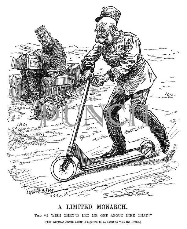 "A Limited Monarch. Tino. ""I wish they'd let me get about like that!"" [The Emperor Franz Josef is reported to be about to visit the Front.] (Franz Joseph I of Austria rides a scooter while Constantine I of Greece sits with his baggage during WW1)"
