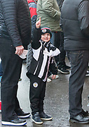 10th April 2018, Tannadice Park, Dundee, Scotland; Scottish Championship football, Dundee United versus St Mirren; Young St Mirren fan in confident mood as his team bid to win the SPFL Championship