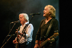 ©London News Pictures. Glastonbury Festival 2015<br /> <br /> THE MOODY BLUES  perform on Pyramid stage on Sunday during Glastonbury Festival 2015, Worthy Farm, Pilton.<br /> <br /> Date: 28/06/2015<br /> Photographer: Artur Lesniak /LNP