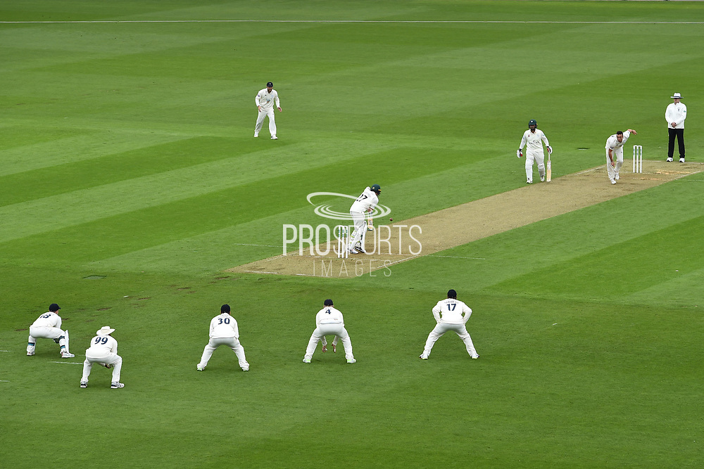 Kyle Abbott of Hampshire bowling to Daryl Mitchell of Worcestershire during the Specsavers County Champ Div 1 match between Hampshire County Cricket Club and Worcestershire County Cricket Club at the Ageas Bowl, Southampton, United Kingdom on 13 April 2018. Picture by Graham Hunt.