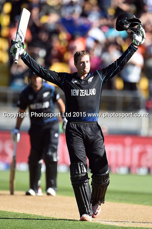 New Zealand batsman Martin Guptill celebrates his century during the ICC Cricket World Cup Quaterfinal match between New Zealand and West Indies at Westpac Stadium in Wellington, New Zealand. Saturday 21  March 2015. Copyright Photo: Raghavan Venugopal / www.photosport.co.nz