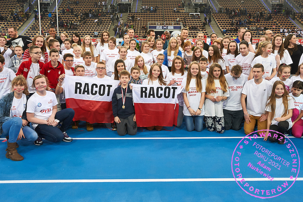 Krzysztof Klimczak President Board of Strauss Cafe Poland and young supporters from Racot pose to picture during athletics meeting Pedro's Cup at Atlas Arena in Lodz, Poland.<br /> <br /> Poland, Lodz, February 17, 2015<br /> <br /> Picture also available in RAW (NEF) or TIFF format on special request.<br /> <br /> For editorial use only. Any commercial or promotional use requires permission.<br /> <br /> Adam Nurkiewicz declares that he has no rights to the image of people at the photographs of his authorship.<br /> <br /> Mandatory credit:<br /> Photo by &copy; Adam Nurkiewicz / Mediasport