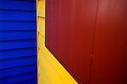 The three primary colors are visible on these beach huts on Brighton Beach, near Melbourne