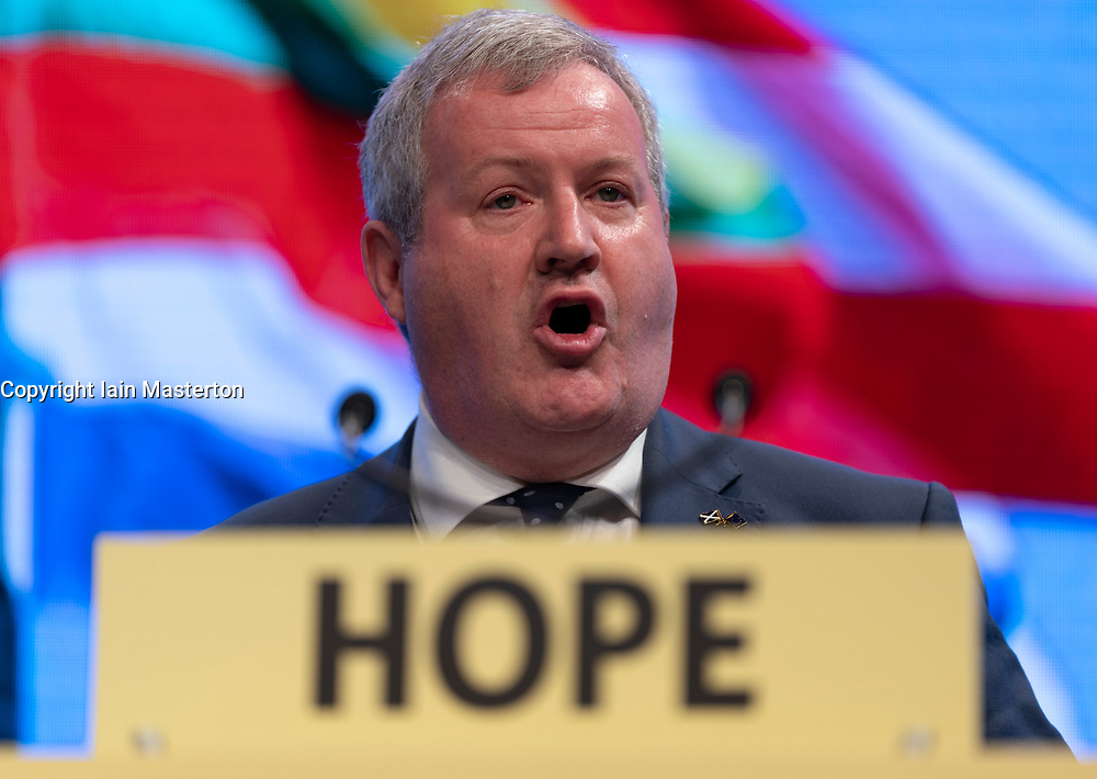 Edinburgh, Scotland, UK. 28 April, 2019. Day 2 of thee SNP ( Scottish National Party) Spring Conference takes place at the EICC ( Edinburgh International Conference Centre) in Edinburgh. Pictured; Ian Blackford MP, Westminster Group Leader for the SNP making address to delegates